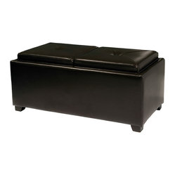 Maxwell 2-Tray-Top Storage Ottoman Coffee Table