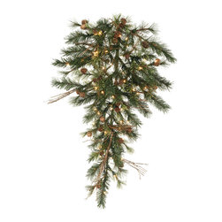 """Vickerman - Mixed Country Teardrop 50CL (36"""") - 36"""" Mixed Country Teardrop  Cones, Grapevines, 50 Clear Dura-Lit Lights, 100 PVC Tips"""