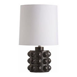 Arteriors - Elijah Lamp - Flaunt your sculptural style with this unique table lamp. The knobby porcelain base is finished in a reactive gunmetal glaze and topped with a long white drum shade.