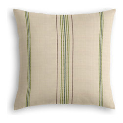 Green Feedsack-Style Cotton Stripe Custom Throw Pillow - The every-style accent pillow: this Simple Throw Pillow works in any space.  Perfectly cut to be extra fluffy, you'll not only love admiring it from afar but snuggling up to it too!  We love it in this classic green & tan feedsack style stripe made in super soft woven cotton.  bye bye scratchy burlap!