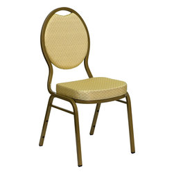 Flash Furniture - Hercules Series Teardrop Back Stacking Banquet Chair with Beige Patterned Fabric - This is one tough chair that will withstand the rigors of time. With a frame that will hold in excess of 500 lbs., the Hercules Series Banquet Chair is one of the strongest banquet chairs on the market. You can make use of banquet chairs for many kinds of occasions. This banquet chair can be used in Church, Banquet Halls, Wedding Ceremonies, Training Rooms, Conference Meetings, Hotels, Conventions, Schools and any other gathering for practical seating arrangements. The banquet chair is also great for home usage from small to large gatherings. For any environment that you use a banquet chair it will put your guests at a greater comfort level with the padded seat and back. Another advantage is the stacking capability that allows you to move the chairs out of the way when not in use. With offerings of comfort and durability, you can be assured that you can enjoy this elegant stacking banquet chair for years to come.