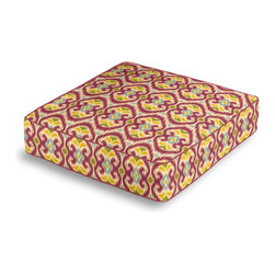 Magenta Ikat Box Floor Pillow - Extra seating that is so good looking you won't want to store it away.  Our Box Floor Pillow is perfect for your next coffee table dinner party, fire place snuggle session, or playroom sleepover.  We love it in this bright magenta, aqua & yellow eclectic ikat on textured cream cotton. the spicy, bustling bazaar brought home to you!