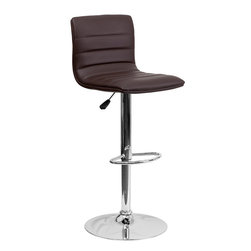 Flash Furniture - Flash Furniture Contemporary Brown Vinyl Adjustable Height Bar Stool - This modern bar stool is upholstered in a durable vinyl upholstery and adjusts from counter to bar height. This armless design is gracefully contoured for your comfort. The height adjustable swivel seat adjusts from counter to bar height with the handle located below the seat. The chrome footrest supports your feet while also providing a contemporary chic design. [CH-92023-1-BRN-GG]