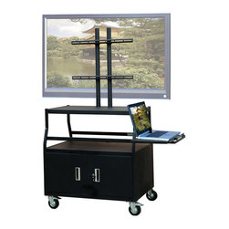 """VTI - VTI Wide Body Cabinet Cart for up to 55"""" Flat Panel TV with Pull Out Shelf - VTI - TV Carts - FPCAB4420E"""