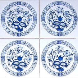 """Mottles Murals Ceramic Tiles - Set of 4 - Blue Onion Ceramic Tiles 4.25"""", Kiln Fired - Blue Onion Ceramic Accent Tiles"""