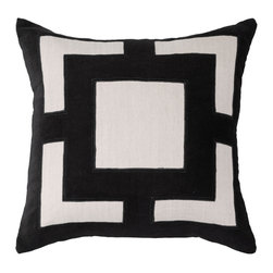 "Bandhini - Panel Black & Beige Lounge Throw Pillow - The Panel lounge throw pillow pairs luxe texture and modern glamour. Across beige cotton, a black velvet geometric pattern lends bold style. 21""W x 21""H; 80% cotton, 20% velvet; Dry clean; Grey goose down fill insert included"