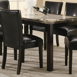 Coaster - Carter Leg Dining Table - Chairs sold separately. Contemporary style. Rectangular shape. Clean straight edges. Straight block legs. Faux marble top. Made from wood veneers and solids. Dark brown finish. 60 in. L x 36 in. W x 30 in. H. WarrantySimple, sleek and functional, this rectangular leg dining table is the perfect gathering piece for your dining room. This table is a sophisticated and functional addition to your home. The Carter dining table aesthetically pleasing dining room furniture in your home.