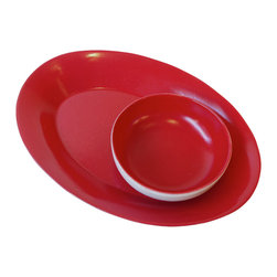 Gorky Gonzalez Chip and Dip Set - Chip in! This cheerful, cherry-colored platter and bowl combo, designed by renowned Mexican artisan Gorky Gonzalez, will make your next gathering a true fiesta.