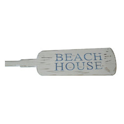 Handcrafted Nautical Decor - Wooden Rustic Beach House Decorative Rowing Oar 62'' - Classically styled and hand-painted for authenticity, this Wooden Rustic Beach House Rowing Oar 62'' is the perfect nautical  wall     art  for  any   beach home or  office. Breathing with the  atmosphere   of   the sea,  this nautical wood boat oar decoration perfectly accents any space with bringing about  the warm  competitive  spirit  of  racing. Whether placing this rowing oar sign in a beach  house, using it as a coastal decorating idea, or hanging it up as part of your beach bedroom decor, one thing is for certain: you are sure to inject the beach lifestyle into your humble abode. For easy placement and mounting of the oar, hooks are provided.--Look at our other wooden boat oar decor for sale: University  Rowing       Wood Boat Oars, Yacht Club Wood Oars, Rowing Club Wood Oars,     Collegiate   Wood Boat Oars, Decorative Rustic  Wood Oars and Decorative     Oars and   Paddles. Our wooden rowing boat oar decorations are   offered   with  and   without hanging hooks in the following sizes: 24'',   36'',  50'',  and  62''.----    Solid wooden oar - handcrafted by our master artisans--    Perfect nautical wall decor- hooks on the back of this oar allow for easy mounting--    Stylish vintage rustic aged rope--    Classic nautical colors- blue and white--    Carefully hand painted Beach House sign--
