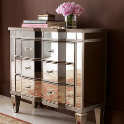 """Chelsea"" Mirrored Chest - Storage with flair and style...the ""Chelsea"" Mirrored Chest has three roomy drawers for safely storing all your keepsakes.36""W x 14""D x 32""T"