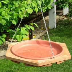Songbird Essentials - Classic 17 Hanging Bird Bath - Bird bath frame made of western red cedar and comes with a clay colored pan that is 1/5/8 inch deep. Has 3 point chain suspension.
