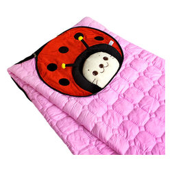 "Blancho Bedding - [Sirotan - Ladybug Red] Blanket Pillow Cushion / Travel Blanket (39.4""-59.1"") - The Coral Fleece Throw Blanket Pillow Cushion / Travel Pillow Blanket measures 39.4 by 59.1 inches for blanket/quilt. The shell is embellished with details of embroidery and applique. Use it as a cushion while folded and zippered, and as a blanket/quilt while opened. Zipper on side, that is where the blanket/quilt can be stored. Whether you are adding the final touch to your bedroom or rec-room, these patterns will add a little whimsy to your decor. Machine wash and tumble dry for easy care. Will look and feel as good as new after multiple washings! This blanket adds a decorative touch to your decor at an exceptional value. Comfort, warmth and stylish designs. This throw blanket will make a fun additional to any room and are beautiful draped over a sofa, chair, bottom of your bed and handy to grab and snuggle up in when there is a chill in the air. They are the perfect gift for any occasion! Available in a choice of whimsical kid-friendly prints to spark the imagination, the blanket is durable enough to look great on the go."