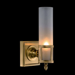 Urban Cylinder Shaped Glass Wall Sconce - A urban-style wall sconce made of brass base and cylinder-shaped white frosted glass shade, features a chic, clean loft look. This streamlined sconce features a towering fixture rising out of its graceful base. It exposes lots of sheen, whether you live in the city or want to add a touch of it into your space.