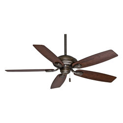"""Casablanca - Arts and Crafts - Mission 52"""" Casablanca Utopian Aged Bronze Energy Star Ceiling - Stay cool with this ceiling fan from the Casablanca™ Utopian Collection. Featuring an aged bronze finish motor paired with five dark walnut all-weather ABS blades this fan has smooth contours and simple lines for a clean progressive look that enhances decor without distraction. Perfect for bathrooms kitchens bedrooms and verandas. Lifetime motor warranty. (54036)(UM) Aged bronze finish motor. Five dark walnut ABS all-weather blades. 52"""" blade span. 13 degree blade pitch. ENERGY STAR® rated. 172x20mm motor size. Lifetime motor warranty. Pull chain operation. Includes a 2"""" and 3"""" downrod. Fan is 11.8"""" high from ceiling to blade (with 8"""" downrod). Fan is 12.9"""" high from ceiling to bottom of switch housing (with 8"""" downrod). Canopy is 6.5"""" wide.  Aged bronze finish motor.  Five dark walnut finish ABS all-weather blades.  52"""" blade span.  13 degree blade pitch.  ENERGY STAR® rated.  172x20mm motor size.   Damp location rated.   Lifetime motor warranty.  Pull chain operation.  2"""" and 3"""" downrod included.  Fan is 11.8"""" high from ceiling to blade (with 8"""" downrod).   Fan is 12.9"""" high from ceiling to bottom of switch housing (with 8"""" downrod).  Canopy is 6.5"""" wide 2.75"""" high."""