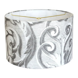 "artanlei - Modern Lamp Shade - Scroll Works Lampshade, 15""d - Stylish twist on a classic.  Large scale baroque scroll pattern in charcoal grey and white.  A perfectly clever urban decor update for immediately noticeable impact."