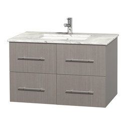 """Wyndham Collection - Centra 36"""" Grey Oak SGL Vanity, Carrera Marble Top, UM Sq Sink, No Mrr - Simplicity and elegance combine in the perfect lines of the Centra vanity by the Wyndham Collection. If cutting-edge contemporary design is your style then the Centra vanity is for you - modern, chic and built to last a lifetime. Available with green glass, pure white man-made stone, ivory marble or white carrera marble counters, with stunning vessel or undermount sink(s) and matching Mrr(s). Featuring soft close door hinges, drawer glides, and meticulously finished with brushed chrome hardware. The attention to detail on this beautiful vanity is second to none."""