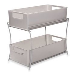 Seville Classics - Two Tier Sliding Basket Organizer - Organize any cabinet with this convenient sliding basket organizer. Its design makes it perfect for the pantry, under the sink, or on your countertop.