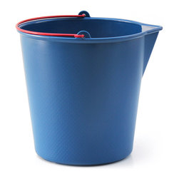 XALA - Drop Bucket, Navy Blue - DROP is a simple and affordable injection molded plastic bucket inspired by normality and basic objects of every day life. The design of DROP is inspired by qualities that were found throughout research in archetypal buckets and the production of plastic household products.