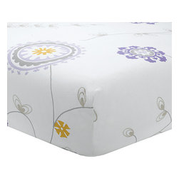 "Liz and Roo - Emma Crib Sheet - This fun floral design will brighten up any nursery! Made with 100% cotton twill and 1"" elastic it is made to withstand many washings without wearing out. Deep pockets and strong elastic gaurantee that it will stay on the mattress."