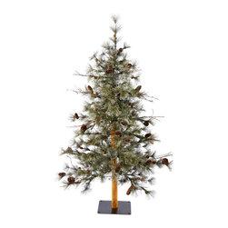 Vickerman - Dakota Alpine Tree 176 Tips (5') - 5' Dakota Alpine Tree 176 PVC Tips  Cones and Metal Stand