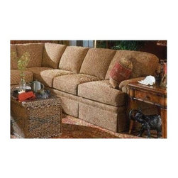Fairfield Chair Company - Right Arm Corner Sofa (Fabric: Amber) - Fabric: Fabric: AmberMaximize your seating potential with this handsome traditional style right arm corner sofa with semi-attached back cushions.  You'll be relaxing in style in this elegant skirted sectional which you can customize by selecting the options that are just right for you. Semi-attached back. Loose seat. Standard ultra plush cushion. Standard with two 18 in. throw pillows. Nails available on arm panels only. Made from hardwood and fabric. Seat Height: 20.5 in.. Arm Height: 25 in.. Seat Depth: 20 in.. Inside Width: 65 in.. Overall: 92 in. L x 36 in. W x 38 in. H