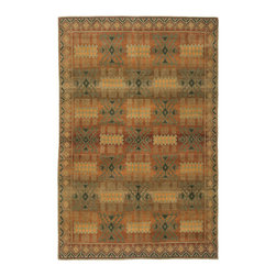 Tibet Rug Company - Handmade Tibetan Carpet - Hand knotted 8x10 carpet made in Tibet. Lustrous hand spun wool and natural dyes. The allover design is perfect for under a table or other furniture.