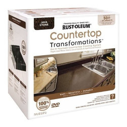 Rustoleum Brands - 258283 Java Countertop Kit - COUNTERTOP TRANSFORMATIONS(R) KIT  Simple, affordable & hassle-free way to -  transform worn or damaged countertop into-  beautiful, durable new counter surfaces  Coating system gives permanent look of -  natural stone products  Just sand, roll, spread, smooth, seal & enjoy  Complete kit of all items needed to transform -  countertops along w/DVD instructions & pamphlet    258283 JAVA COUNTERTOP KIT  COVERAGE:50 Sq. Ft.  Color: Java Stone