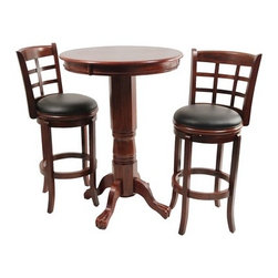 "Boraam - Kyoto 3 Piece Pub Set in Light Cherry - Florence Pedestal Pub Table in Light Cherry Features: -Light cherry finish. -Solid hardwood construction. -Classic pub-style pub table. -Frame features claw feet. -Floor protectors prevent scratches. -Dimensions: 42"" H x 30"" W x 30"" D.  29"" Kyoto Swivel Stool in Light Cherry Features: -Solid hardwood construction. -Black faux leather seat with high density foam. -Steel ball bearing. -Swivel for durability. -French leg with tampered bottoms. -Seat height: 29"". -Dimensions: 43.5"" H x 18"" W x 22"" D."