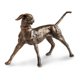 Fetch Sculpture - Captured at a moment of motion, the playing dog depicted by the Fetch Sculpture is detailed down to individual toes and the buckle of his collar, but this small tabletop ornament has the precious visual interest of visible sculpting marks, giving it a wonderful purity of look and freedom of expression.  A deep bronze finish completes the little sculpture of a faithful playmate.