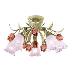 Crystorama Lighting Group - Crystorama Lighting Group 4800 Five Light Southport Handpainted Wrought Iron Flo - Five Light Southport Handpainted Wrought Iron Floral Semi Flush MountRequires 5 60w Medium Bulbs (Not Included)