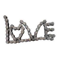 Recycled Salvage Chain Art Design - Chain Art Love Sign Wall Art - Love sign can be hung on wall laid flat on desk or will stand up