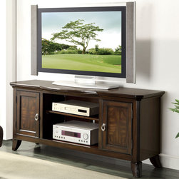 Coaster - 700901 TV Console, Cherry - This TV console has beautiful parquet veneers and plenty of storage space: 2 cabinet doors with storage shelves and open storage space in the center. Angled fluted legs add style to this piece and match perfectly with occasional set 702357-702358.