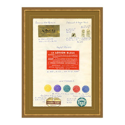 Antique Apothocary Labels, Paris - F Framed Giclee - An intriguing reproduction of antique apothecary labels from France delightfully arranged, documented and suited for any room you wish to display them in. Various shapes and sizes of labels lend themselves to a feeling of simpler times, when medicines and remedies were hand concocted, packaged and labeled.