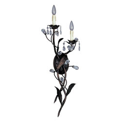 Maxim Lighting - Maxim Lighting Grove Traditional Wall Sconce X-IO9388 - You can't go wrong when decorating with this Maxim Lighting Grove Traditional Wall Sconce. It features two stems with leaf details in an oil rubbed bronze finish that wrap around each other and support faux wax candles. This dramatic and eye-catching piece is further accented with glistening crystal drops that will surely catch your attention.