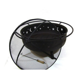 "Sunnydaze Decor - Large Cosmic Fire Pit - Total Diameter with Handle: 42""; Total Height: 23""H; Total Weight: 36 lbs"