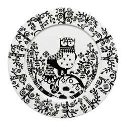 Iittala - Taika Dinner Plate, Black - Bring fanciful flair to your dinner fare. This charming owl print has a fairy-tale feel that's sure to enchant family and friends who gather at your table.
