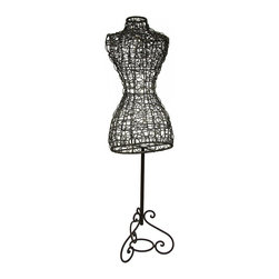 Zeckos - Decorative Metal Wire Mannequin Stand Vintage Style Sculpture - This highly decorative stylized mannequin is perfect accenting your entryway, sewing room, office or otherwise empty corner with a beautiful weathered aluminum and bronze finish Crafted from vinyl coated metal wire on a solid metal stand, this eye-catching 58 inch high, 14 inch long, 15.5 inch wide (147 x 36 x 39 cm) dressmaker's mannequin adds a vintage vibe to your space, and offers a unique place to hang your jacket Great as a stand alone piece, or as functional art accent, this lightweight wire mannequin is sure to receive rave reviews
