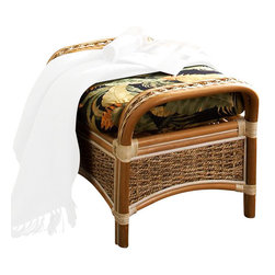 Spice Island Wicker - Ottoman with Cushion (Imperial Stripe Jewel - All Weather) - Fabric: Imperial Stripe Jewel (All Weather)Natural finish. Includes cushion. 29.5 in. W x 18 in. D x 18 in. H (25 lbs.)