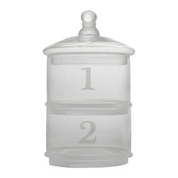 Tag Everyday - Glass Stacking Canisters, Set of 2 - Each section numbered. Frosted detail on glass and handle. Hand wash.