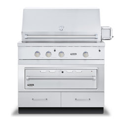 """Viking 42"""" Grill Base Cabinet With Warming Drawer Access, Stainless 