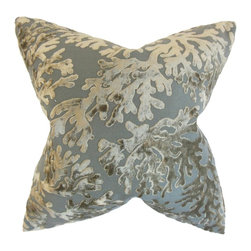 The Pillow Collection - Aaru Coastal Pillow, Silver - Spruce up your home with this ocean-themed throw pillow.
