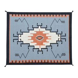 Area Rug, 5'X7' Hand Woven Reversible Navajo Design 100% Wool Rug SH11730 - Soumaks & Kilims are prominent Flat Woven Rugs.  Flat Woven Rugs are made by weaving wool onto a foundation of cotton warps on the loom.  The unique trait about these thin rugs is that they're reversible.  Pillows and Blankets can be made from Soumas & Kilims.