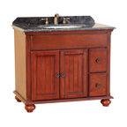 Bosconi - 39 in. Classic Single Vanity - Includes sink overflow drain. Faucet and drain not included. Vanity with two drawers and two swing doors. Perfect blend of beauty and function. 0.7 in. thick dark emperador marble countertop. White and single ceramic basin sink. Three 8 in. standard faucet holes. Antique brass hardware. Made from solid wood frame, CARB PH2 certified MDF sides and panelling. Antique red finish. Matching backsplash: 0.7 in. W x 3.1 in. H. Sink: 22 in. W x 16 in. D x 7.9 in. H. Overall: 30 in. W x 23 in. D x 33 in. H (116 lbs.)This Bosconi Classic vanity has great elements of design. This model is a great mix of functionality and beauty, as its finish across its solid structure will look great in any bathroom.