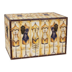 Oriental Furniture - Mannequin Storage Trunk - Tres chic! Based on a classic 1930's poster advertising a Parisian seamstress, this trunk will add retro flair and classic French couture to your home. Formatted to look great from front, back, above, and the sides, this stylish chest features high definition printing on natural, art-quality canvas. The classic design and faux leather edges bring to mind the fashionable European steamer trunks of the last century. Featuring sturdy yet lightweight wood construction and a soft, fabric lined interior, this trunk is ideal for storing clothing, sewing supplies, and any other personal belonging you could think of. Designed for your convenience, this trunk features an inconspicuous interior arm that holds the lid when you need it open, and a pair of external closures that keep it shut tight when you don't. The durable, tear resistant canvas is protected with riveted faux leather edges to provide you with a stylish chest that is built to last. Consider adding it to your dressing room or just putting it on display to add a cosmopolitan accent to your home decor.