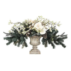 Home Decorators Collection - Amaryllis Winterland Centerpiece - The Amaryllis Winterland Centerpiece features decorative faux greenery that will accent your home decor for the holidays. The plant includes glitter-covered pinecones in antique white and is set in a decorative pot. The amaryllis, pine and pinecones provide lifelike realism. Made for use every holiday season.