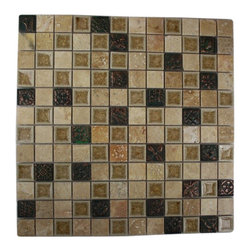 """Roman Collection Desert Tan W/ Deco Glass Tile - sample-ROMAN COLLECTION DESERT TAN W/ DECO 1x1 1/4 SHEET GLASS TILES SAMPLE YOU ARE PURCHASING A 1/4 SHEET (APRX. 6"""" X 6"""") SAMPLE WITH . IT IS BEST TO SEE AT LEAST A 1/4 SHEET OF THE MOSAIC TO SEE THE FULL EFFECT OF THE TILE AND ALL OF ITS COLORS. -Glass Tiles -"""