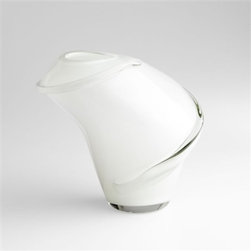 Benito Vase by Cyan Design - The Benito Vase is a delicately whimsy accent piece with its unique shape and variant color pattern of white and clear.