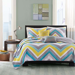 ID-Intelligent Designs - Intelligent Design Ariel Coverlet Set - The Intelligent Design Ariel Collection provides a modern update for the stylish customer. Its updated chevron design uses two shades of blue along with a pop of yellow and grey to update your space instantly.