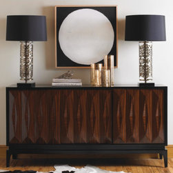 Dwell Studio collections - Dwell Studios Available exclusively through AT HOM for San Diego and Coachella Valley.Our Art Deco-inspired console evokes modern grandeur thanks to the faceted front doors, warm rosewood finish and lacquered trim. The best part? It's the perfect surface for showing off some of our favorite collectibles, from lamps to books to small sculptures.