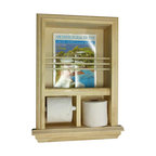 """WG Wood Products - Camarillo Recessed Magazine Rack/Toilet Paper Combo III - Recesses in the wall for a beautiful, yet functional look without taking up any floor space!  Must have standard 2 x 4 walls.  Works easily with both single and double size rolls.  Will NOT work with Scott 1000, Costco rolls, MEGA and JUMBO size rolls.  Includes white plastic spring loaded toilet paper roller.    Installation is a breeze!  Just cut the opening in the drywall and use construction adhesive on the back side of the frame and push it in the wall.   Measures 16""""w x 23""""h x 3.5""""d.  Your Rough opening needs to be 13 1/4""""w x 19 7/8""""h.  Product is stain grade unfinished solid pine.  You can paint or stain this item easily.  Proudly made in the USA.  .."""